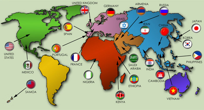 Colorful Flags Website - World languages map